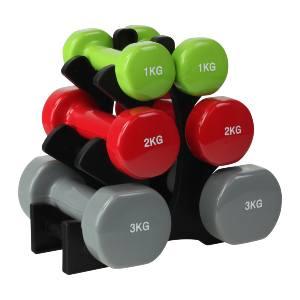 stativ samt håndvægte på 1, 2 og 3 kg